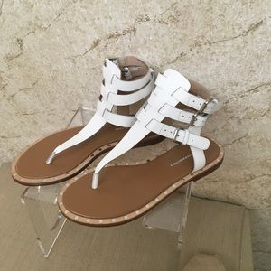 French Connection White Leather flat Gladiator